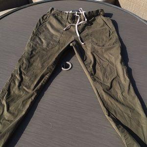 Army green drawstring pants